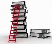 Folders and ladder. Conception of career advancement