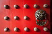 Red Temple Door In Chinatown, Singapore