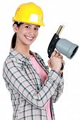 stock photo of blow torch  - Woman holding blow - JPG