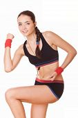 Woman In Sportswear Workout Exercises