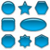 Blue glass buttons, set