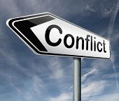 image of conflict couple  - conflict management in business at work or between couple with different interest solve the problem and find resolution - JPG