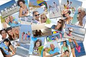Montage of people happy men women and children families and couples having fun on a summer holiday v