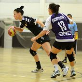 SIOFOK, HUNGARY - NOVEMBER 17: Unidentified players in action at EHF Cup handball match Siofok (blac
