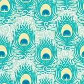 Peacock feathers vector seamless pattern background