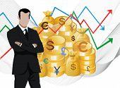Businessman in front of gold coins and stock market charts, golden boys