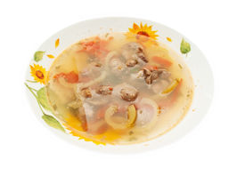 pic of giblets  - appetizing Soup with Chicken giblets in plate isolated on white - JPG