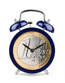 Blue alarm clock with euro clockface isolated on white