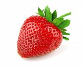 stock photo of strawberry plant  - Fresh sweet strawberry isolated on white - JPG