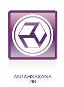 foto of antahkarana  - Antahkarana YIN icon Symbol in a violet rounded square - JPG