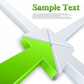 Abstract 3 white and 1 green arrows meeting in one point concept. Business vector background.