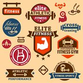 stock photo of bench  - Elegant Fitness and Sport Vector Labels and logos - JPG
