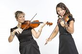 Mother and daughter violin duet