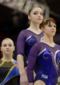 KIEV, UKRAINE - MARCH 30: Anna Dementieva (right), Aliya Mustafina (middle), both - Russia, and Kris