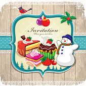 Vintage frame with Christmas background,birds, holly leafs, cupcake, snowman
