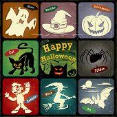Vintage halloween poster, label design set