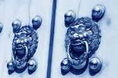 Metal Knocker On The Door In The Forbidden City In Beijing, China, Blue Picture