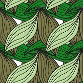 Seamless pattern of green leaves cane