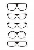 Vector glasses set with black thick holder retro hipster illustration isolated on white background