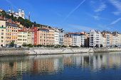 Beautiful View Of Saone River In Lyon City