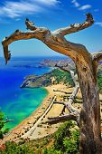 amazing Greece series. Rhodes island, view of Tsambika bay