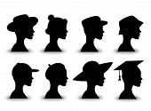 Set of silhouetted hats