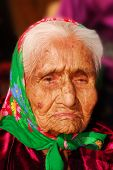 Portrait of a wrinkled 99 year old Navajo Native American woman