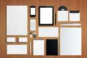 pic of letterhead  - Blank Corporate ID Set on wooden background - JPG