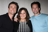 LOS ANGELES - AUG 24:  Daniel Goddard, Angelica McDaniel, Michael Muhney at the Young & Restless Fan