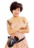 stock photo of cross-dresser  - Smiling young asian master of style with scissors in right hand - JPG