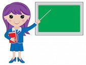 Kawaii Girl Teacher with Book, Pointer and Blackboard