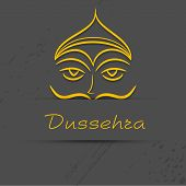 Indian festival Happy Dussehra concept with illustration of Ravana on grey background.