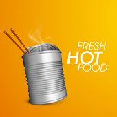 Fresh hot food delivery background with packed hot food and chopsticks.