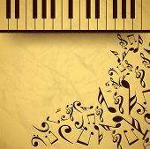 Vintage musical background with piano and musical notes, can be use as flyer, poster, banner or back