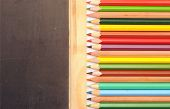 Colorful pencil border blank blackboard