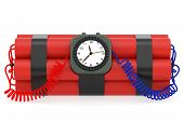 pic of time-bomb  - Time bomb with dynamite and clock detonator on white background - JPG