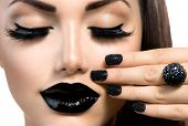 stock photo of nail-design  - Beauty Fashion Model Girl with Black Make up - JPG