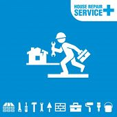 House repair service. Worker with tool.