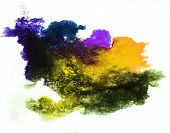 0_watercolor Splash Yellow, Purple Isolated Spot Handmade Colored Background Annotation Ink On Paper