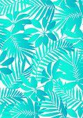 Tropical leaves Aqua