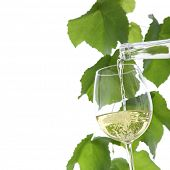 white wine pouring in a glass isolated on white