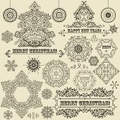 stock photo of std  - vector vintage Christmas highly detailed design elements - JPG