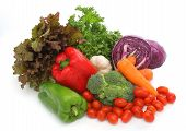pic of food groups  - colorful fresh group of vegetables for a balanced diet - JPG