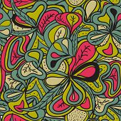 Seamless pattern abstract hand-drawn vegetation texture