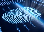Fingerprint scanning technology on pixellated screen - 3d rendered with slight DOF