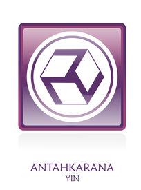 image of antahkarana  - Antahkarana YIN icon Symbol in a violet rounded square - JPG
