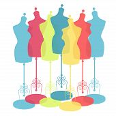 picture of dress mannequin  - vector vintage tailor - JPG