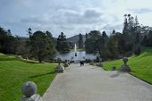 A view down the steps to Fountain and Lake in Powerscourt gardens