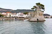 Scenic fishing port of Nafpaktos city in Greece