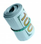 Roll of new hundred dollar bills isolated